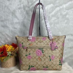 GALLERY TOTE IN SIGNATURE CANVAS WITH PRAIRIE ROSE